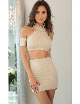 Sweetest Mistake Two Piece Set In Beige by Lucy In The Sky
