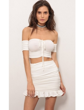 Odessa Two Piece Set In White by Lucy In The Sky