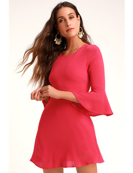 Center Of Attention Bright Pink Flounce Sleeve Dress by Lulus