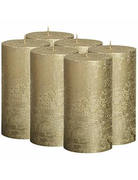 Bolsius Rustic Full Metallic Gold Candles – Set Of 6 Unscented Pillar Candles – Gold Candles With A Full Metallic Coat – Slow Burning – Perfect Décor Candle – 130/68m 5 X 2.75 Inches by Bolsius
