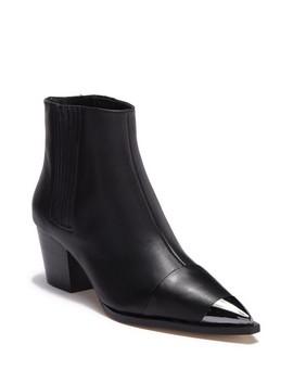 blythe-leather-metallic-toe-chelsea-boot by halston-heritage