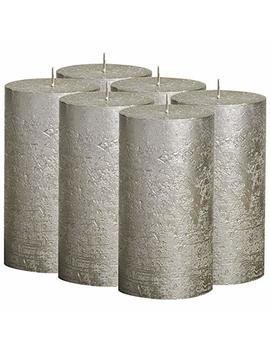 bolsius-rustic-full-metallic-champagne-candles-–-set-of-6-unscented-pillar-candles-–-champagne-candles-with-a-full-metallic-coat-–-slow-burning-–-perfect-décor-candle-–-130_68m-5-x-275-inches by bolsius