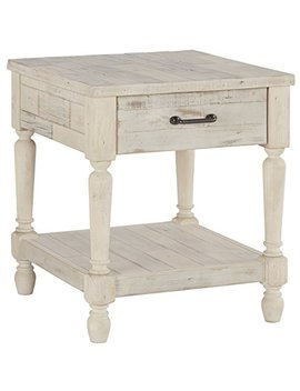 Ashley Furniture Signature Design   Shawnalore Casual Rectangular End Table With Storage   White Wash by Signature Design By Ashley