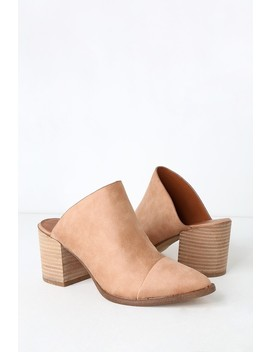 Tisha Nude Suede Pointed Toe Mules by Report