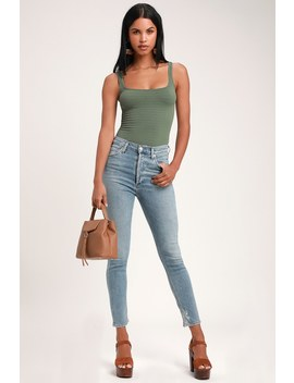 Nico High Rise Light Wash Skinny Jeans by Agolde