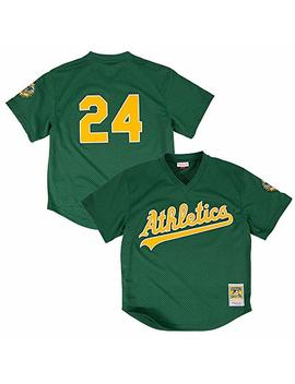 Mitchell & Ness Rickey Henderson Oakland Athletics Mlb Men's Green 1998 Authentic Throwback Batting Practice Jersey by Mitchell & Ness