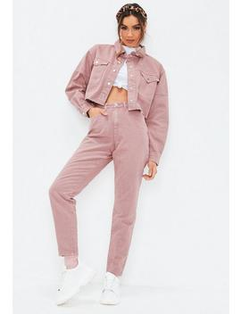 Blush Pink Riot High Rise Rigid Co Ord Mom Jeans by Missguided