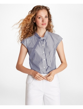 Striped Cotton Poplin Tie Neck Blouse by Brooks Brothers