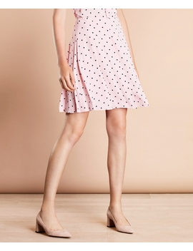 Polka Dot Crepe Pleated Skirt by Brooks Brothers