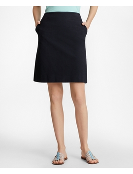 Stretch Cotton Jacquard A Line Skirt by Brooks Brothers