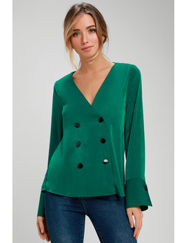 Luminary Green Satin Button Front Long Sleeve Top by Lulus