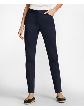 Stretch Cotton Sateen Ankle Pants by Brooks Brothers