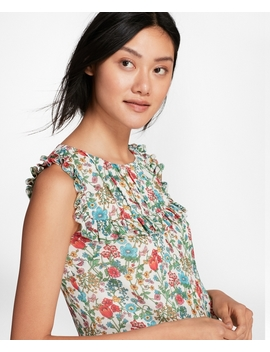 Ruffled Floral Print Chiffon Top by Brooks Brothers