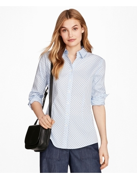 Floral Print Stretch Cotton Gingham Shirt by Brooks Brothers