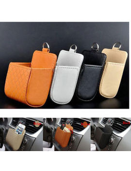 Mini Car Auto Pu Leather Pouch Bag Phone Sundries Holder Outlet Air Vent Pouch by Unbranded