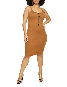 Plus Size Ribbed Knit Tank Top And Skirt Set by Rainbow