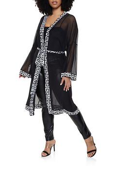 Plus Size Printed Trim Mesh Duster by Rainbow