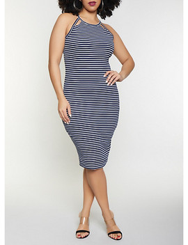 Plus Size Cut Out Striped Tank Dress by Rainbow