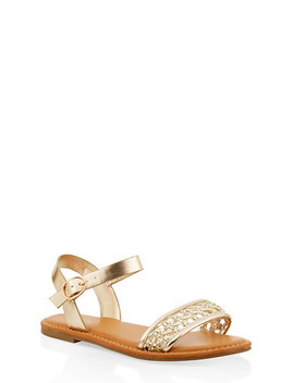 Woven Strap Faux Leather Sandals by Rainbow