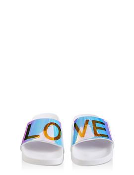 Iridescent Love Band Slides by Rainbow