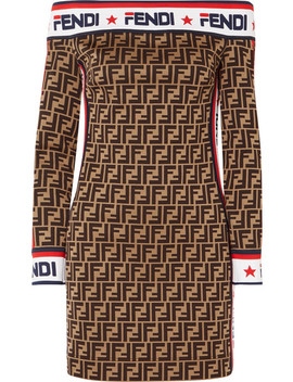 Off The Shoulder Printed Cotton Blend Mini Dress by Fendi