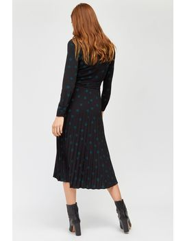 Mixed Spot Pleated Dress by Warehouse