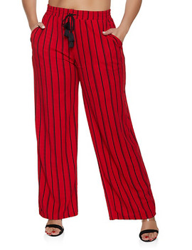 Plus Size Striped Palazzo Pants | Red by Rainbow