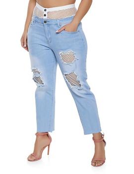 Plus Size Vip High Fishnet Waist Jeans by Rainbow