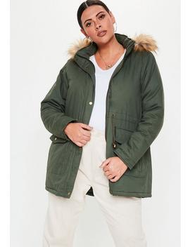 Plus Size Khaki Faux Fur Hood Parka Jacket by Missguided