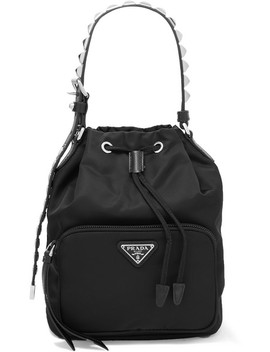 Vela Stud Embellished Leather Trimmed Shell Tote by Prada