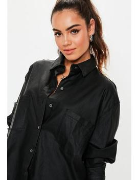 Petite Black Oversized Coated Denim Shirt by Missguided