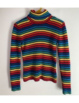 Tommy Hilfiger Jeans Ribbed Rainbow Stripe Cotton Turtleneck Sweater Size Small by Tommy Hilfiger