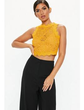 Mustard Yellow Cornelli Lace Crop Top by Missguided
