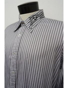 7 Diamonds 100 Percents Black Striped Casual Button Down Dress Shirt Xl Mens L/S#4547 by 7 Diamonds