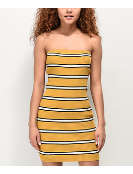 Empyre Aisley Black &Amp; Yellow Striped Strapless Dress by Empyre