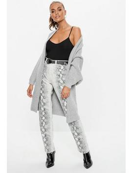 Grey Oversized Batwing Long Knitted Cardigan by Missguided
