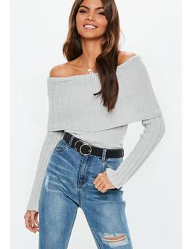 Grey Chenille Ribbed Fold Over Bardot Jumper by Missguided