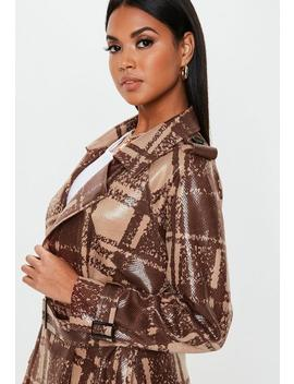 Brown Snake Plaid Faux Leather Trench Coat by Missguided
