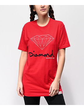 Diamond Supply Co. Og Sign Red Boyfriend T Shirt by Diamond Supply