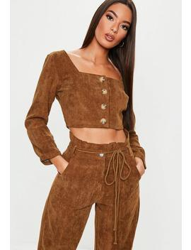 Chocolate Cord Co Ord Crop Top by Missguided