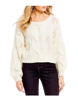 Balloon Sleeve Cable Knit Sweater by C&V Chelsea & Violet