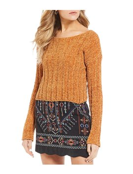 Cable Knit Western Crop Chenille Sweater by Double Zero