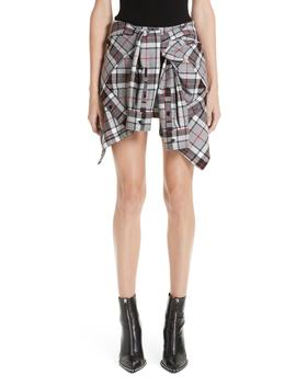 Tie Front Plaid Wool Skorts by Alexander Wang