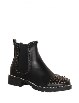 Layla Black Faux Leather Spiked Studded Boots by Missy Empire