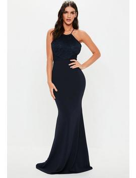 Bridesmaid Navy Scallop Trim Maxi Dress by Missguided