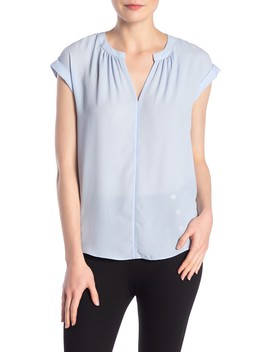 Rolled Short Sleeve Blouse (Petite) by Philosophy Apparel
