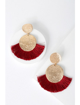 Huge Fan Gold And Red Fringe Earrings by Lulus