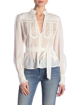 Sweet Memories Lace Detail Cotton Blouse by Free People