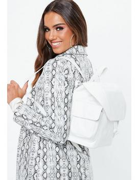 White Croc Backpack by Missguided