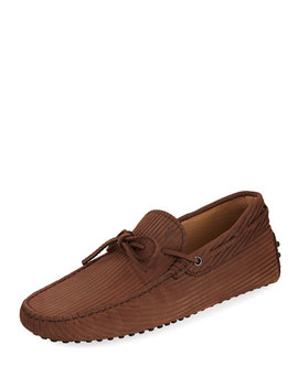Tods Mens Textured Nubuck Gommini Drivers by Tod's
